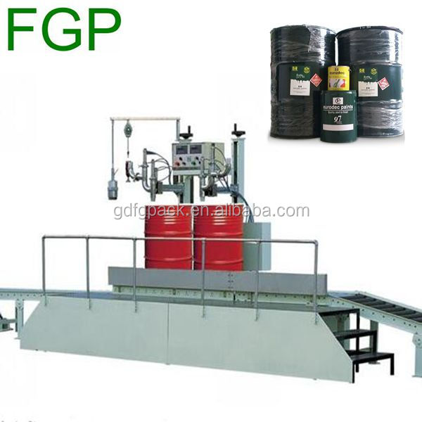 50-400kg Oil drum/bucket/pail automatic weighting filling packaging machine/ oil drum filler machine with conveyor in China