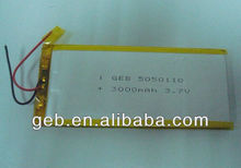 3.7V 3000mAh lithium polymer battery cell for GPS, MP3, MP4, PDA, PMC, PMP, PSP