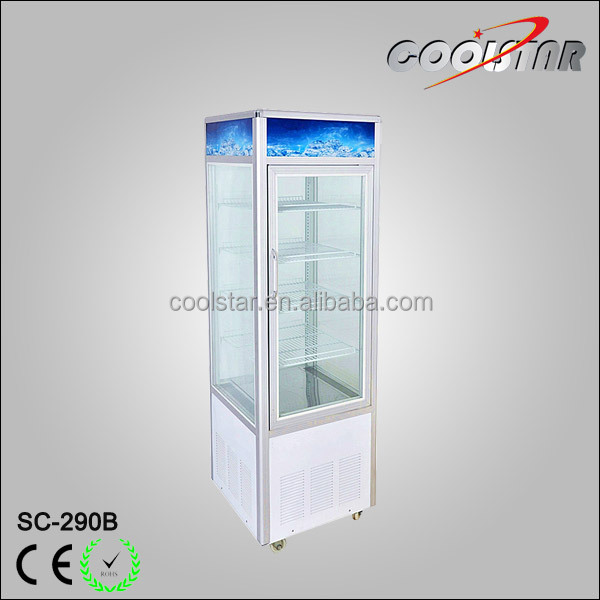 10 cubic feet vertical refrigerator with four glass doors