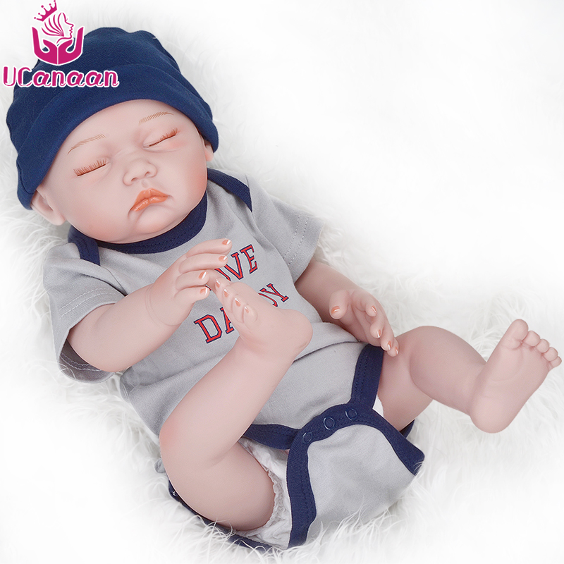 UCanaan 20 Inch Sleeping Boy Reborn Baby <strong>Doll</strong> 50CM Silicone Toys For Children Playmate Best Gifts For Kids