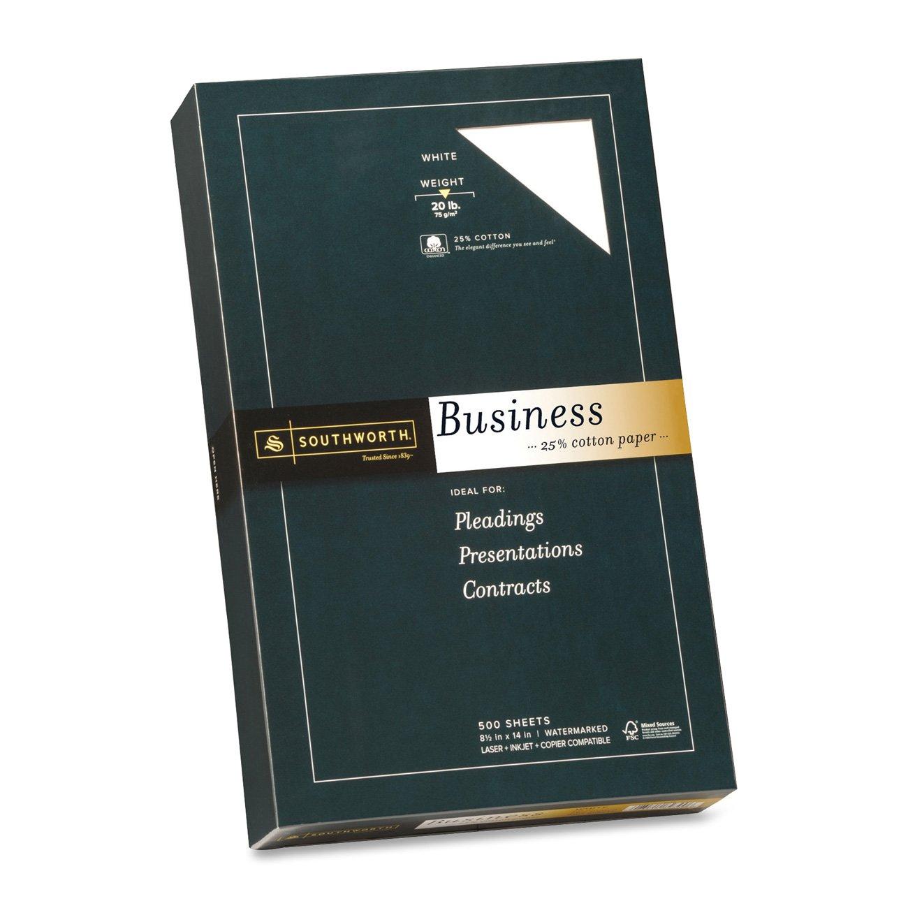 "Southworth 25% Cotton Business Paper, 8.5"" x 14, 20 lb/75 gsm, Wove Finish, Diamond White, 500 Sheets (403E)"
