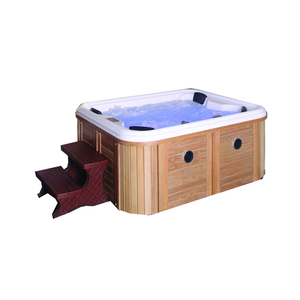 SM094C Acrylic material hydro soaking bath in marble price wooden skirt hot whirlpools tub outdoor massage spa bathtub