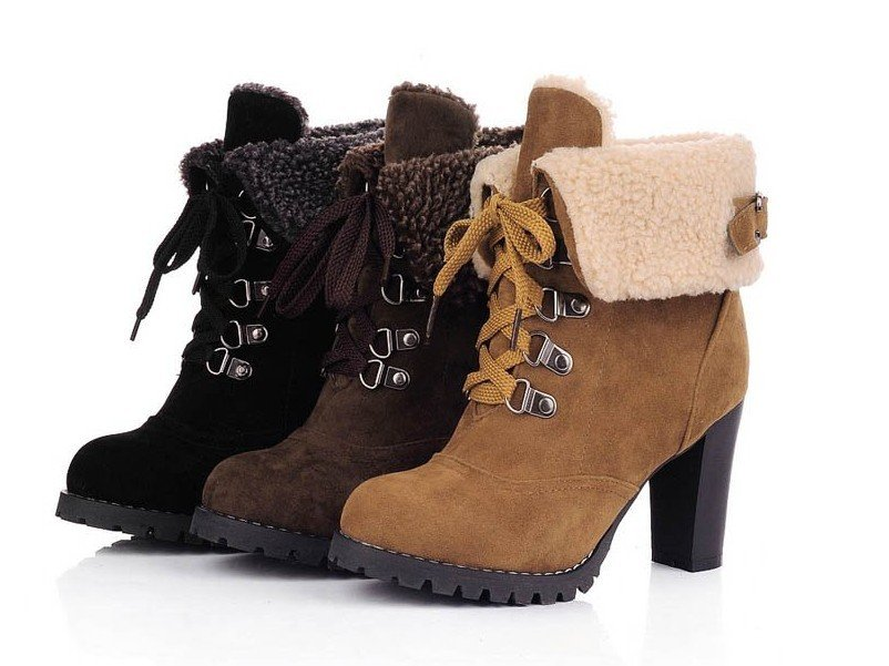 e066b81713 Get Quotations · 2014 fashion high heel boots for women,short winter shoes,Thick  wool martin boots