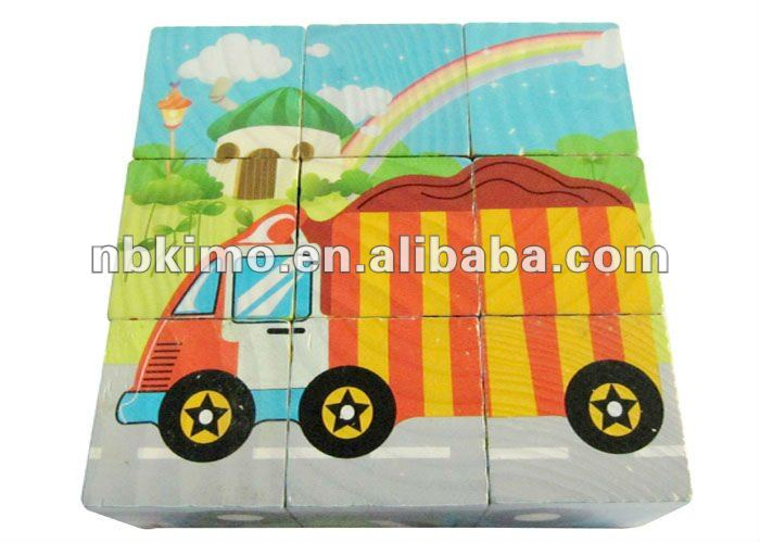Lovely cartoon children wooden block cube puzzle toy KM6090