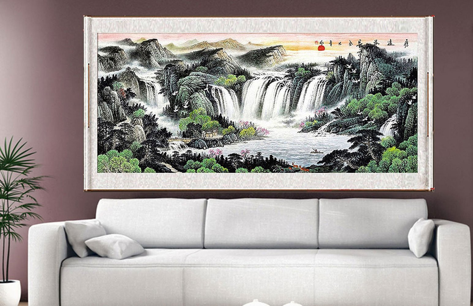 Buy Waterfall Painting Feng Shui Fountain Water Asian Wall Art Prints Decor Large Scroll Chinese Feng Shui Landscape Paintings For Christmas Home Office Living Room 70 X25 In Cheap Price On Alibaba Com