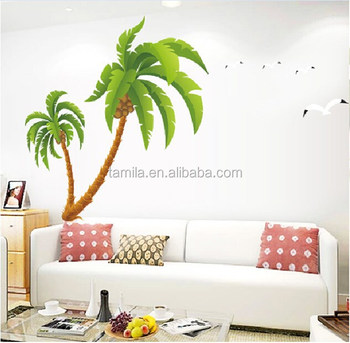 kids nursery coconut tree wall sticker - buy reusable tree wall