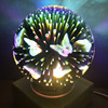 bamboon wooden 3d firework glass table led light 5v 3d butterfly bulb
