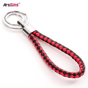 Exquisite Double Ring PU leather key chain ring  Braided Leather Rope Key Links Small Gift Direct Sale