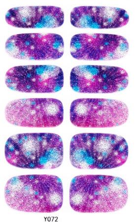 Y5072 Manicure 3D Decals Auto Adhesive Nail Art Stickers Dark Purple Galaxy Blurry Dull Polish Design