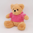 Lovely Plush Brown teddy bear wearing vivid pink clothing stuffing bear baby toy gifts