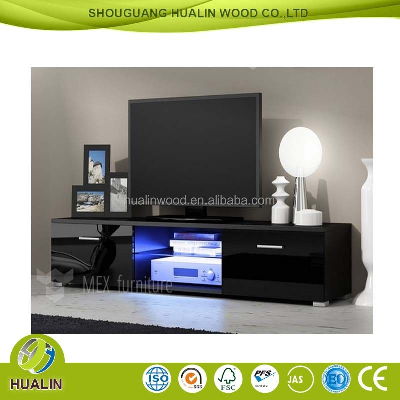 New Style Living Room Furniture Black High Gloss Tv Stand Design