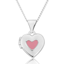Pink Enamel Heart Locket Sterling Silver Pendant