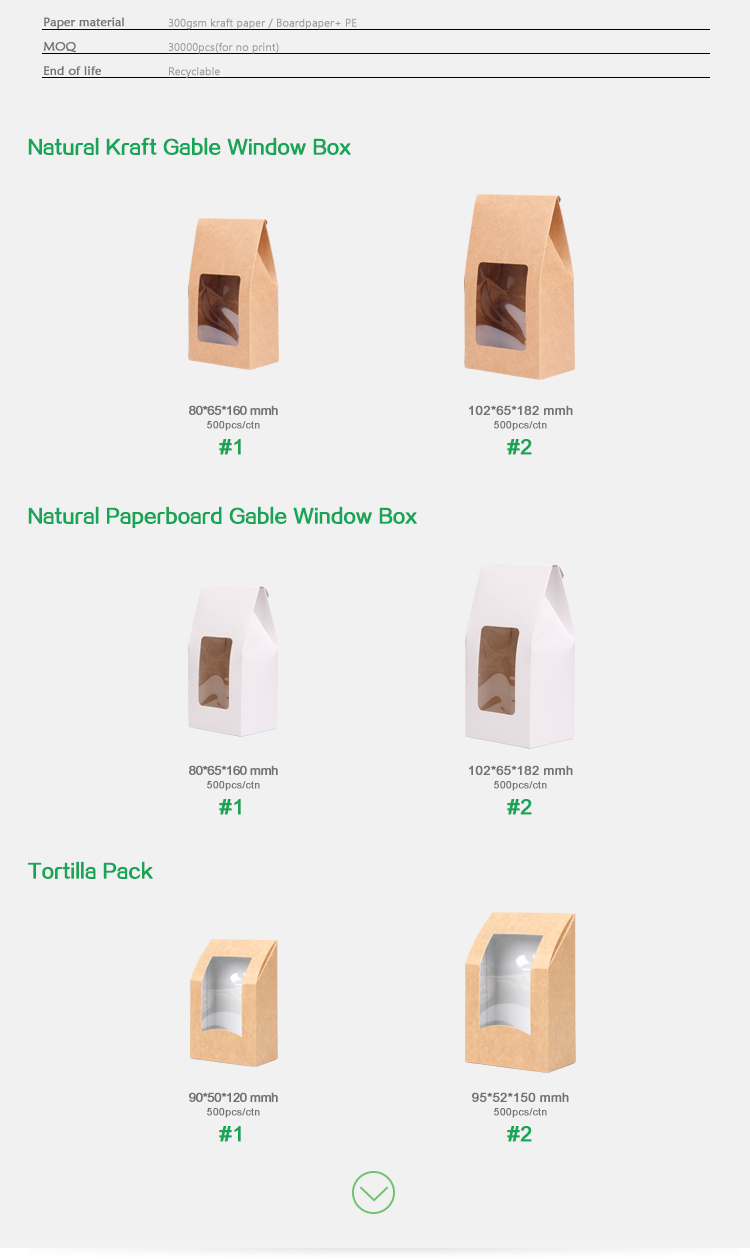 Natural kraft gable window box,Tuck-top tortilla packaging box with window