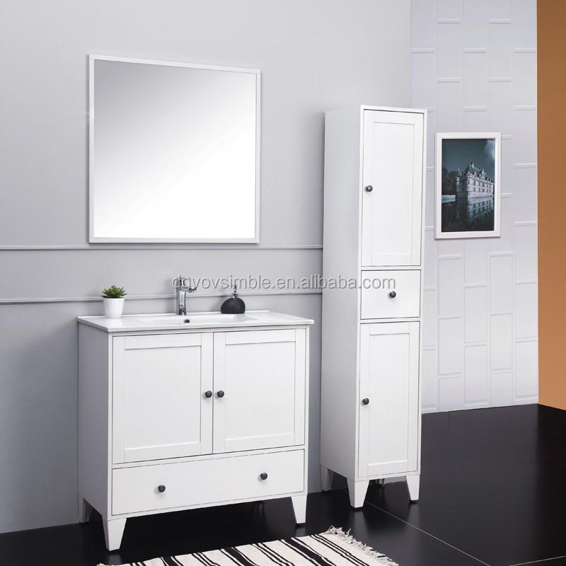 North America Hot Sale Solid Wood Bathroom Furniture White