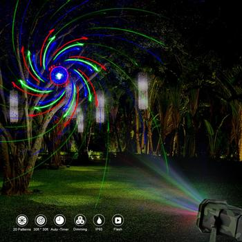 Outdoor Waterproof Laser Projector Light, Moving RGB 20 Patterns with RF Remote Control, Perfect for Christmas Party.