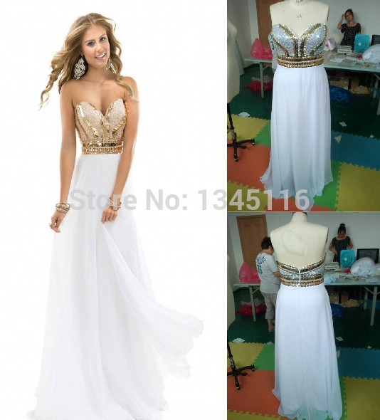 Get Quotations · 2015 New Elegant women Noble Beading Sweetheart White Gold  Party prom Gown Long Chiffon Sequin Formal 787f1d631