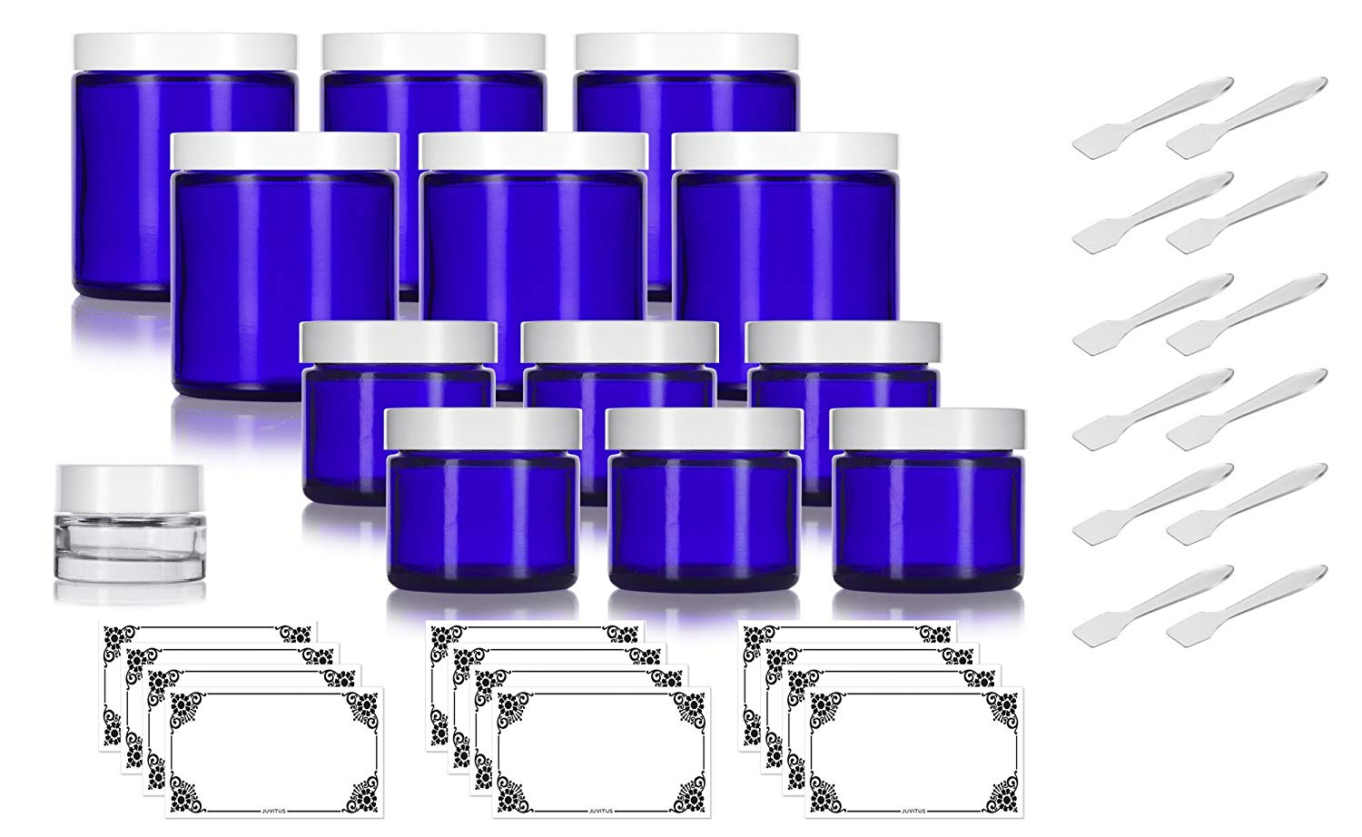 12 piece Cobalt Blue Glass Straight Sided Jar Starter Kit Set: 6 - 2 oz Cobalt Glass Jars, 6 - 4 oz Cobalt Glass Jars With White Lids + a Small Glass Balm Jar and Labels