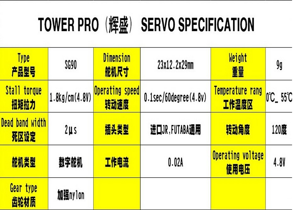 20pcs /lot Tower Pro SG90 Micro 9g Servo Motor Torque JR Arduino RC  Helicopters Aeromodelling Planes Helikopter Parts