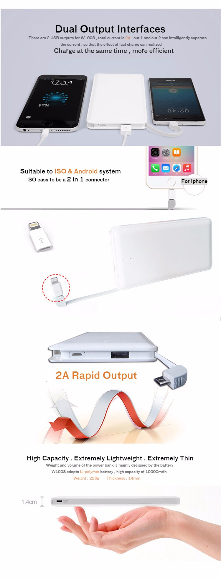 Competitive price hot sale 10000MAH capacity power bank charger