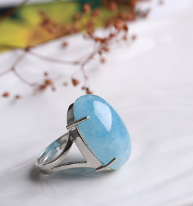 Natural sea blue treasure ring ice seed sea blue treasure Japan and Korea women ring domineering women resizable