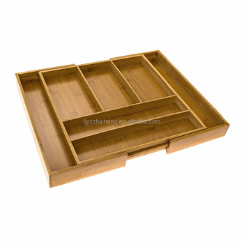 Kitchen Drawer Organizer Tray Bamboo Expandable Cutlery Drawer Organizer  With Adjustable Dividers