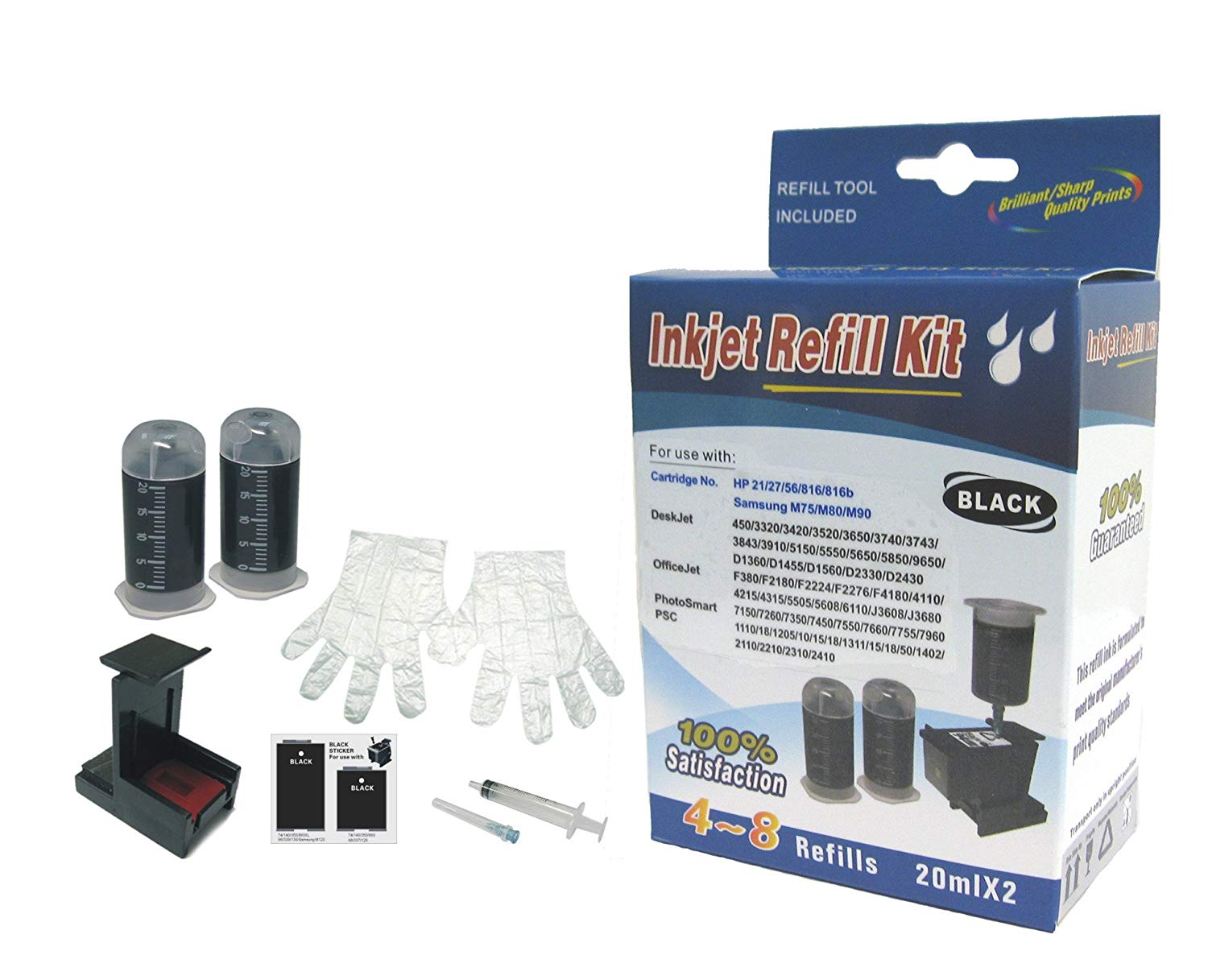 Self refill kit for HP21 HP27 Black ink cartridge HP 21 HP 27