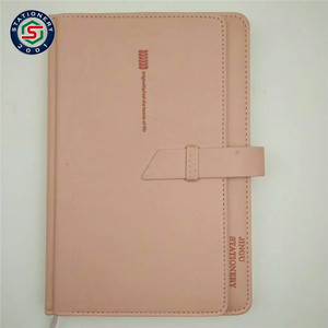 Refillable a5 leather journal cover pu notebook bound with front pocket