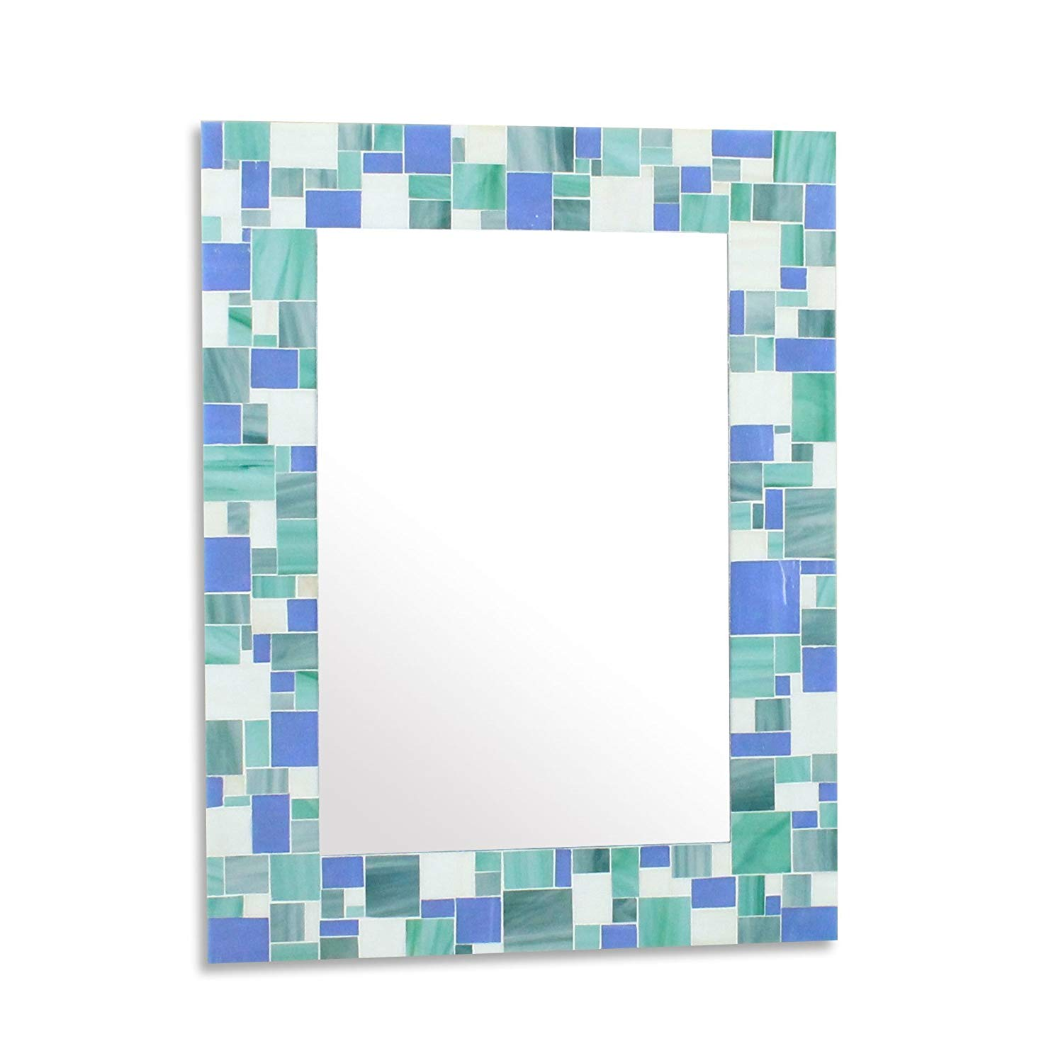 Decorative Mosaic Beach Bathroom Wall Mirror in Blues, Sea Green and White Stained Glass Tiles 24x30 inches