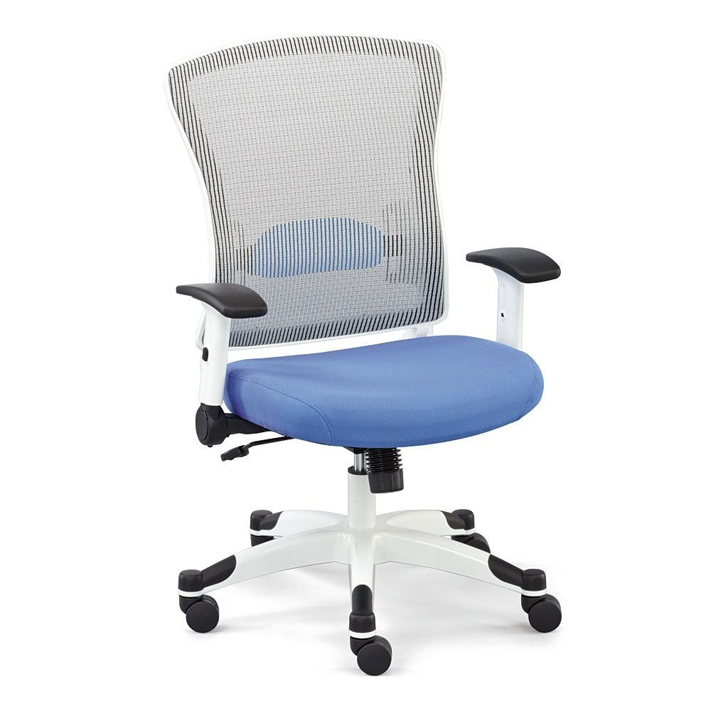 "White Mesh Chair with Flip Arms and Memory Foam Seat Dimensions: 28.5""W x 26""D x 42-44""H Seat Dimensions: 20.5""Wx19.25""Dx18.5-20.25""H Weight: 56 lbs. Sky Fabric Seat/White Vertical Mesh/White Frame"