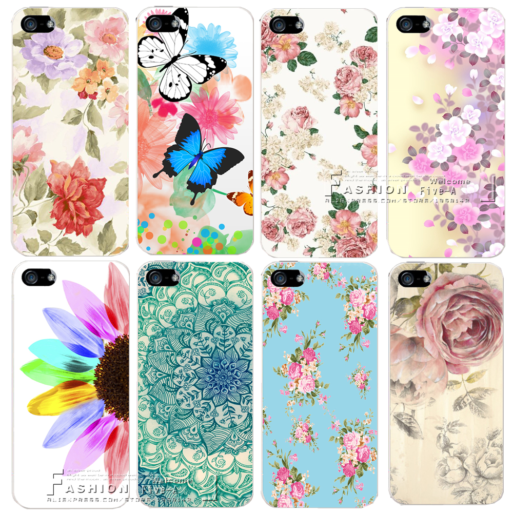 Romantic Flower Colorfull Painted Hard Plastic Shell Cover Case For Apple iPhone 4 4S 5 5S