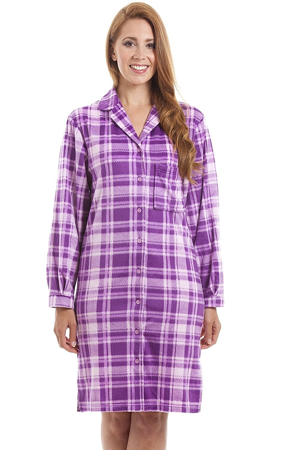 d154797287 Get Quotations · Camille Womens Ladies Lilac Checkered Long Sleeve Button  Front Wincy Nightshirt