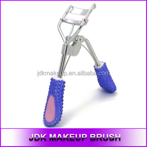 New Purple rhinestones eyelash curler with heart, Rhinestones purple pink eyelash curler cosmetic tools