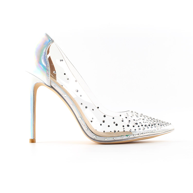 2019 New Model Crystal Embellished Transparent PVC Shoes Women High <strong>Heels</strong> Direct Manufacturers