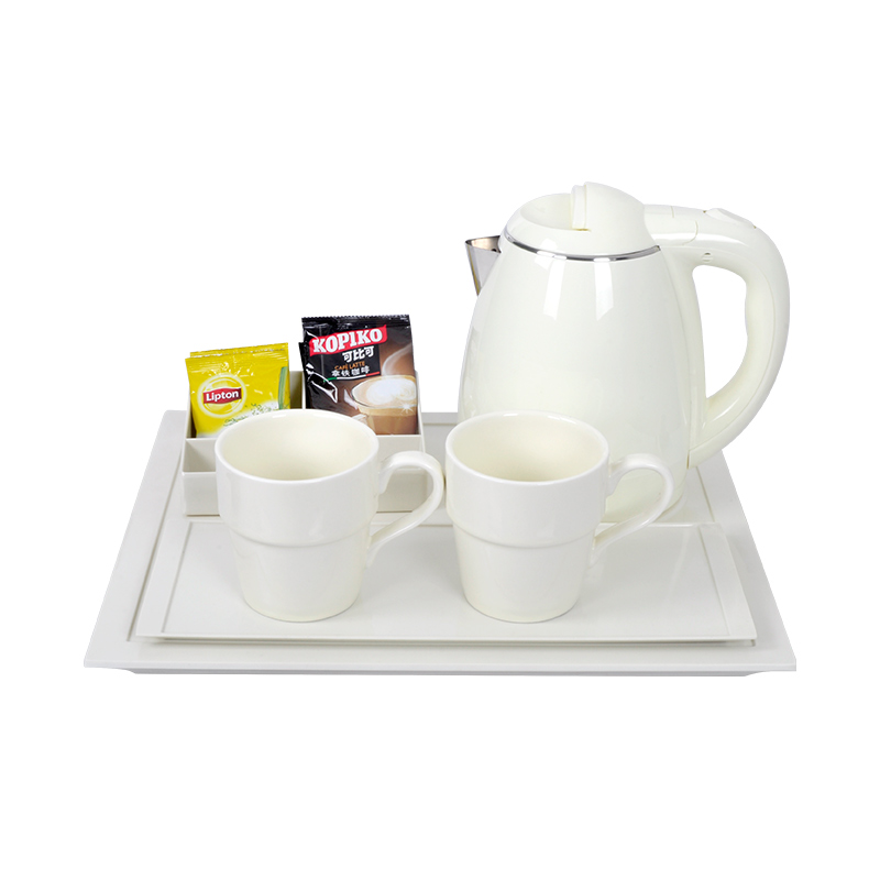 Hotel Appliance New Arrival White Electric Tea Kettle Tray Set