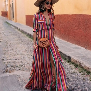2019 New Design Women Boho Bohemian Striped Print Summer Sleeveless Tank Long Maxi Party Dress
