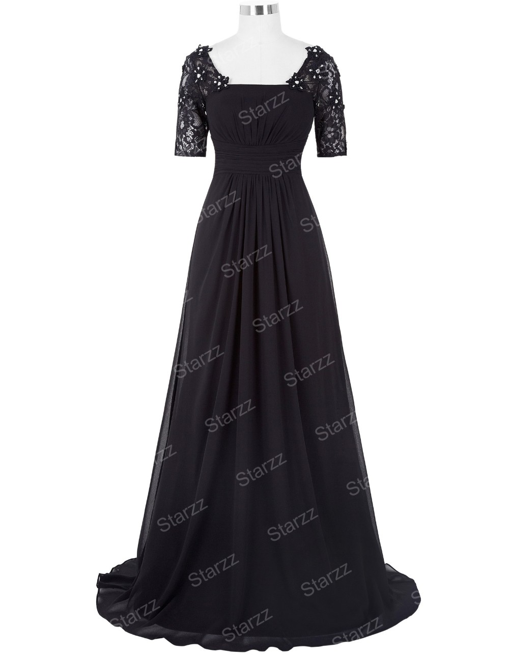 Kate Kasin Ladies Short Sleeve Square Neck Black Long Chiffon Ball Gown Evening Prom Party Dress 8 Size US 2~16 KK000152-1