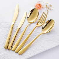 wholesale 9cr18mov stainless steel knife dinnerware gold cutlery with packing box wedding gifts for guests flatware