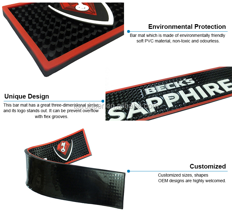 Custom brand rubber pvc drip mat on good sales, pvc bar service mat