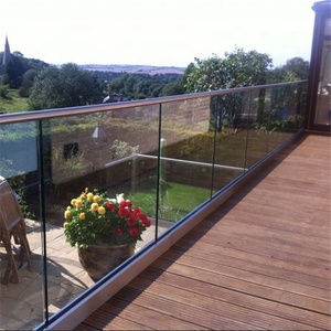 Frameless U channel base tempered glass railings / balustrades for outside project