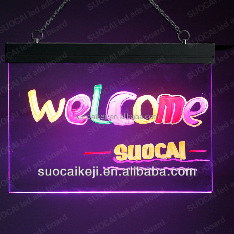 2015 New Frameless Led Writing Board/small door front open sign