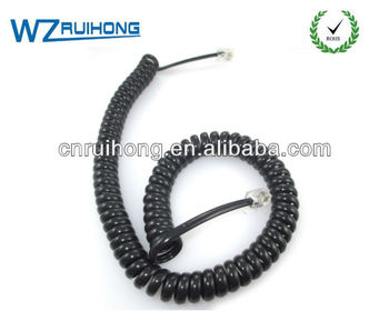 black long telephone retractable cable spiral spring