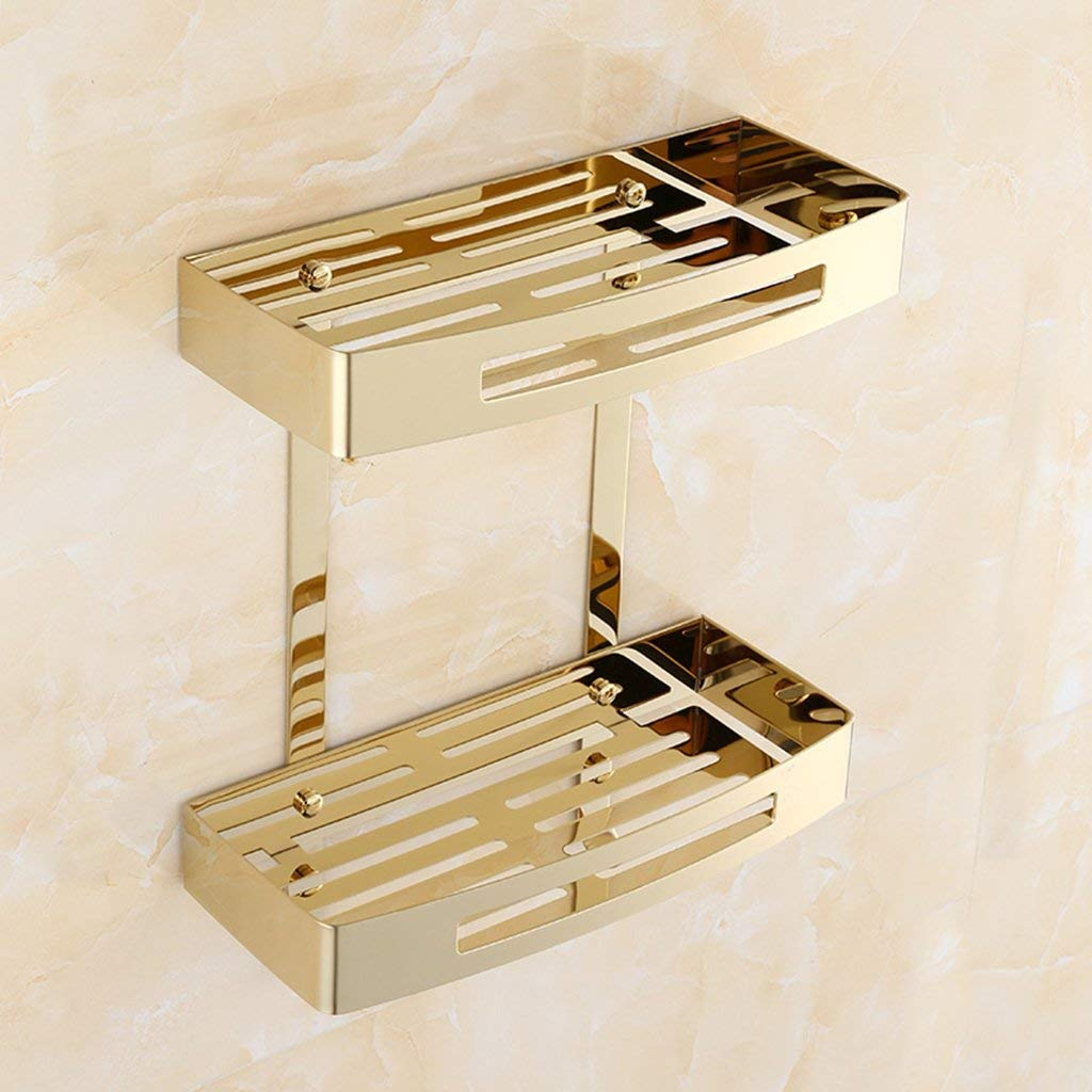 LQQGXL Storage and organization European-style plating bath 304 stainless steel double shelves
