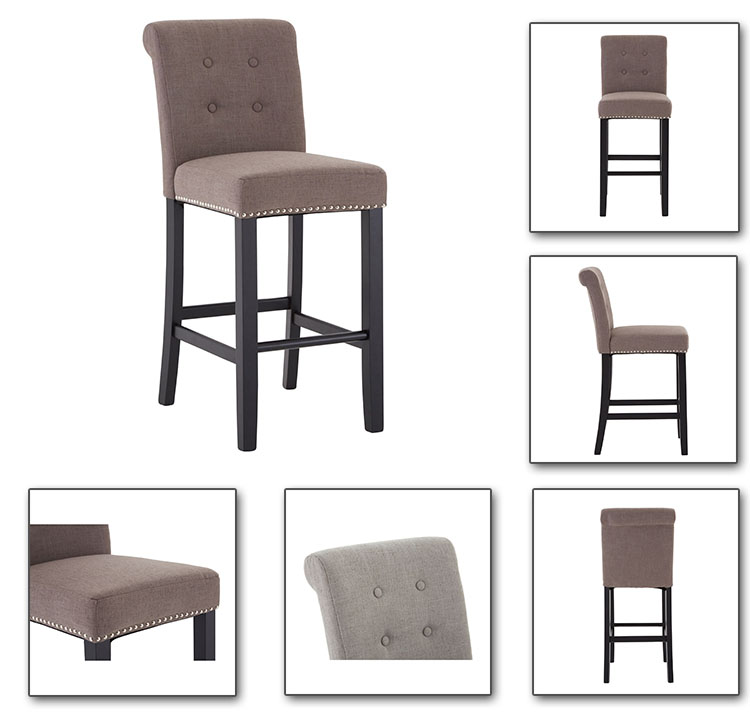 China wholesale anji Deko Wood barchair, tufted Counter Stool with nailhead