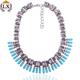 NLX-00138 newest western acrylic jewelry zinc alloy necklace silver accessories with crystal wholesale