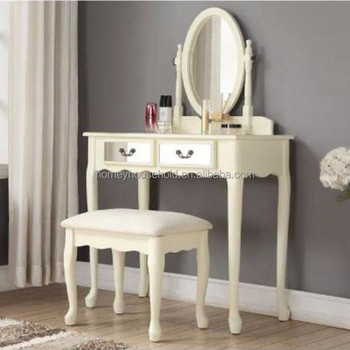 White Wooden Dressing Table Mirror Shabby French Chic S Bedroom Make Up Desk