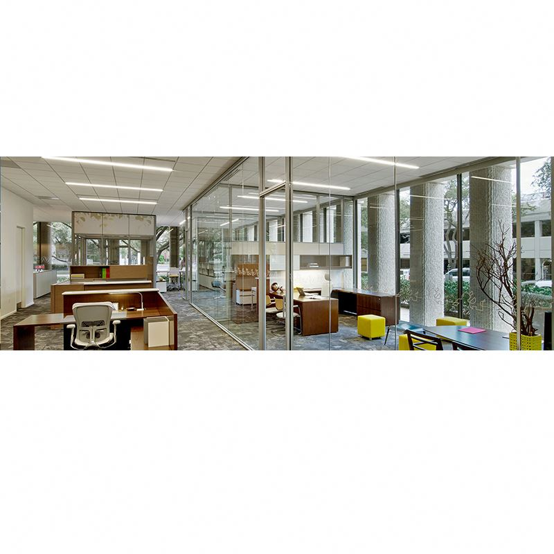 floor to ceiling particle board glass wall partition