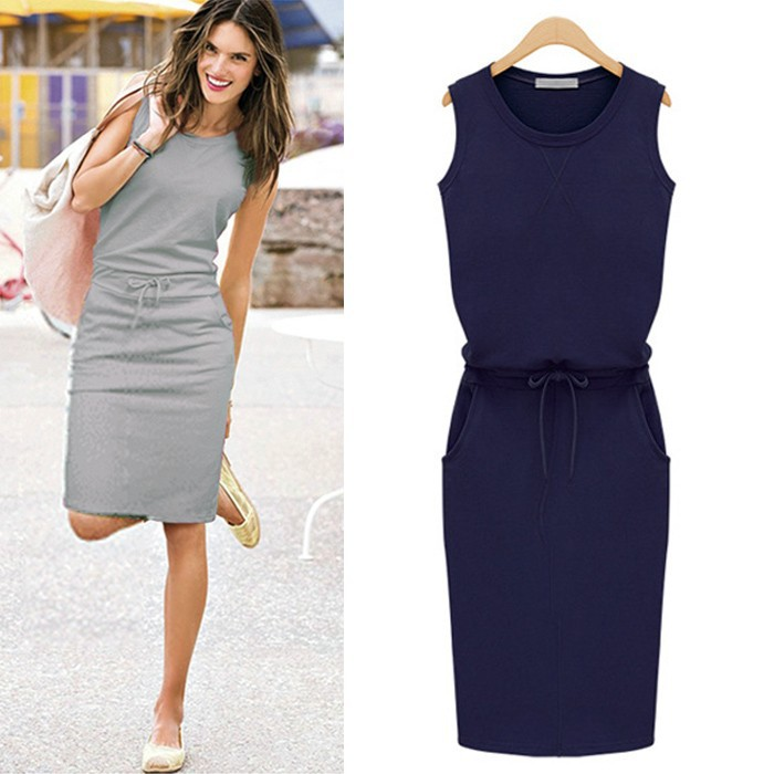 2015 Party New Pencil Slim Dress Women Cotton Summer Sleeveless ...