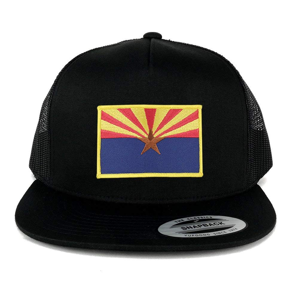 2bc61bf91d3 Get Quotations · FLEXFIT 5 Panel Arizona Home State Flag Embroidered Patch  Snapback Mesh Trucker Cap