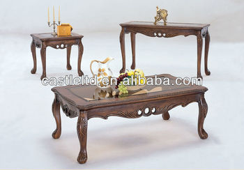 Cf30004 Unique Carved Cutout A Queen Anne Coffee End Sofa Table Sets Antique Carving High