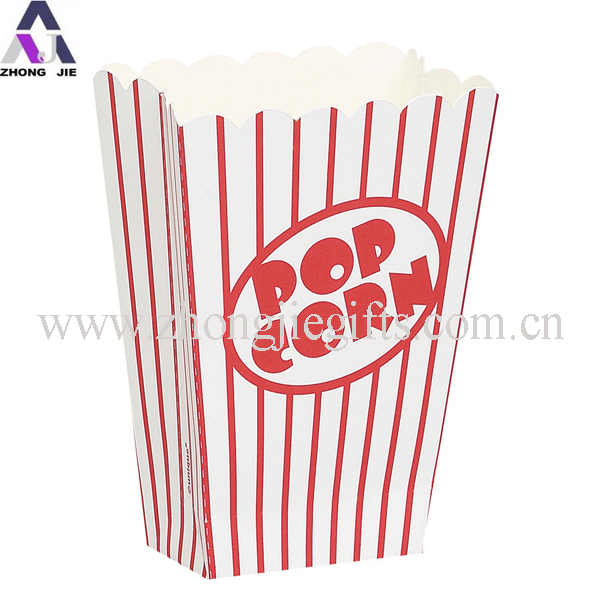 Red Striped Paper Popcorn Box Popcorn Packaging Boxes With Fda ...
